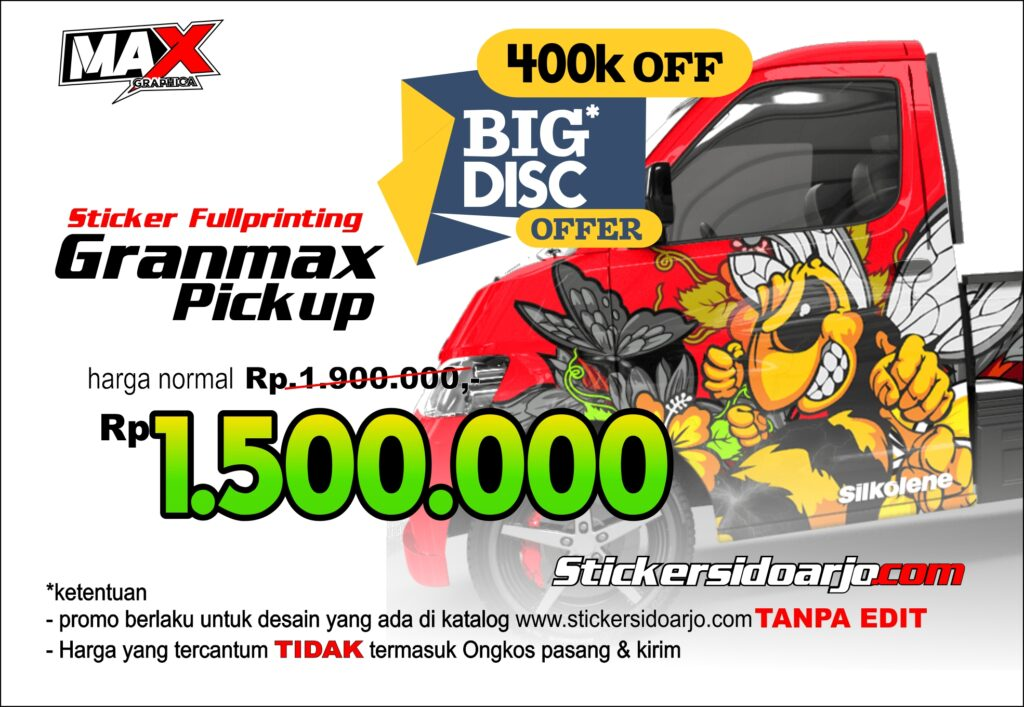 sticker granmax pickup maxgraphica cutting sticker sidoarjo
